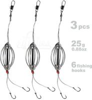 3pcs Carp Fishing Cask Feeder SET, 6 Fishing Hook #6, Coarse Bait Fishing Tackle