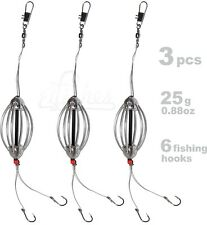 3pcs Carp Fishing Cask Feeder SET, 6x Fishing Hook, Inline Bait Fishing Tackle