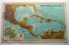 Central America Map & west Indies 1928 John Bartholomew Antique