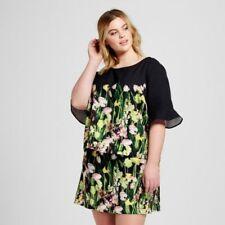 Victoria Beckham Target 2x Black Satin Floral Top NWT