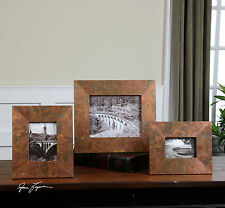 THREE SIZES OXIDIZED COPPER SHEETING PICTURE PHOTO FRAMES RUSTIC TUSCAN