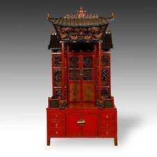 RARE ANTIQUE CHINESE GILDED LACQUERED ELM WOOD ALTAR CABINET WITH CANOPY 19TH C