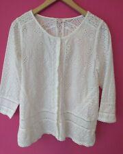 Fatface Ladies White Cotton Borderie Anglais Blouse Size 14