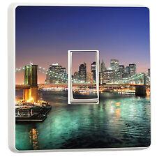 New York Brooklyn Bridge skyline at night light switch cover sticker (11999548)