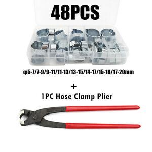 48PCS Double Ear Hose Clips Water Fuel Air Clamps Kit 5-20MM Hose Clamp Pliers