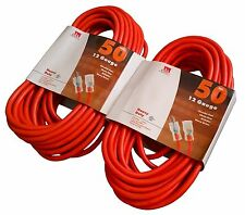 2-Pack 50 Ft 12 Gauge Extension Cord Heavy Duty Grounded Lit End UL 12/3