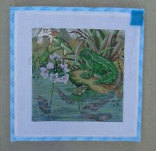 "Frogs Hand Painted Needlepoint Canvas on Frame 12"" x 12"" Tadpoles Pond Lily Pad"