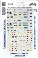 Microscale Head, Tail Light, Sponsor Decals for Pinewood Cars No Scale PD 19 CAL