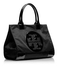 Tory Burch Handbag Ella Tote Black Nylon Women Large Bag Leather Logo Authentic