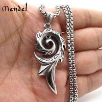 MENDEL Mens Egyptian Amulet Phoenix Rising Fire Pendant Necklace Stainless Steel