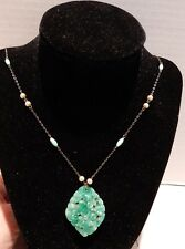 ANTIQUE JADE AND PEARL NECKLACE - 2 GRAMS - FREE SHIPPING