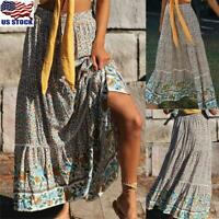 Women Bohemian Floral Elastic Waist Long Skirts Casual Pleated Swing Skirt Dress