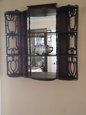 Antique Wood Solid Four (4) Shelf Wall Mount Display With Mirror