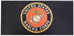 USMC United States Marine Corps Emblem Black 30 x 60 Beach Towel 100% Polyester