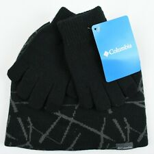 COLUMBIA - Kids' Boys' Beanie Hat & Gloves Set, Black/Grey, One Size Youth
