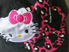 Sanrio Hello Kitty Black Hat-White Kitty Patch/Pink Peace Graphic Military Style