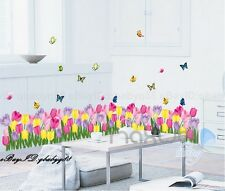Colorful Tulip Butterfly Wall Border Decals Removable Window Stickers Kids Decor