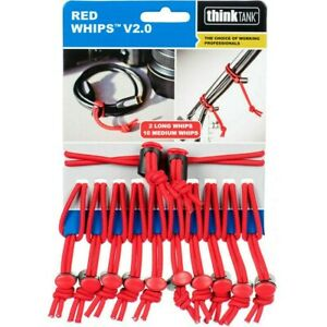 Think Tank 12 x Red Whips Adjustable Elastic Cable Ties V2.0 Bungie (UK) BNIP