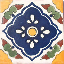 Set #008) With Nine Mexican Tiles Ceramic Clay Handmade Handcrafted Mexico Tile
