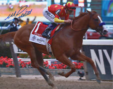 "Justify 2018 Belmont Stakes Finish Photo 8"" x 10"" Signed Mike Smith"