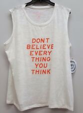 RACHEL ROY Size 1X White Burnout Graphic Tank Top DONT BELIEVE EVERYTHING
