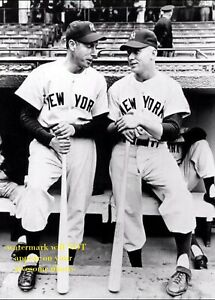 Joe DiMaggio Mickey Mantle PHOTO New York Yankees 1951 Baseball Stars