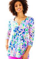 Lilly Pulitzer UPF 50+ Justina Havin A Blast V-Neck 3/4 Sleeve Tunic Top XS New