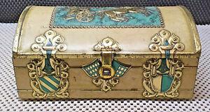 Antique Pretty Box Metal Trunk Scene Relief Horses Gladiator Collection