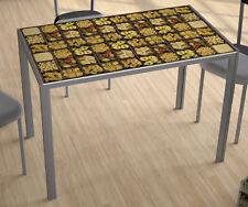 Mesa de cocina cristal moderna 105x75x60 color gris y con serigrafiado pasta