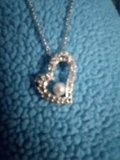 Swarovski Swan Signed Heart Pendant Necklace 2-tone Rhinestones & Pearl