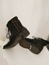 ankle boots biker steampunk boots uk size 4 (37) black with studs