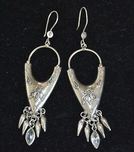 Tribal Long drop earrings, Dangle earrings, Chandelier sterling earrings (V504)