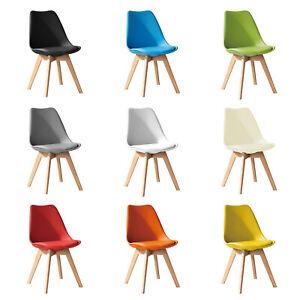 Jamie Dining Chair Plastic Soft Padded Seat Eiffel Solid Wood Legs Tulip Retro