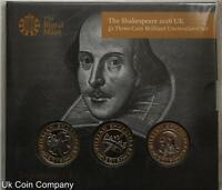 2016 Royal Mint Shakespear £2 Brilliant Uncirculated Three Coin Pack