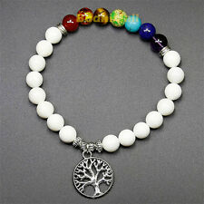 White 7 Chakra Life Tree Charm Healing Balance Reiki Prayer Yoga Bracelet