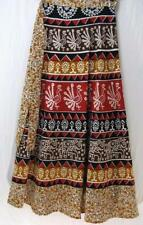 Tienda Ho~AUTUMN~Long wrap skirt~HANDWOVEN COTTON~folk print~INDIAN~PLUS~OS