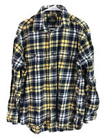 RedHead Cotton Flannel Button Up Shirt Mens Large Yellow Blue Plaid Long Sleeve