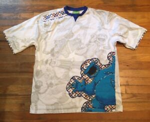 Vintage 2007 Sesame Street All Over Print Cookie Monster T-shirt White Size 3XL