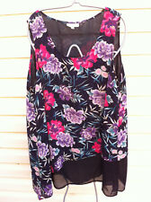AUTOGRAPH MULTI-COLOURED FLORAL LAYERED FLOWING TUNIC/TOP SIZE 22 NEAR NEW