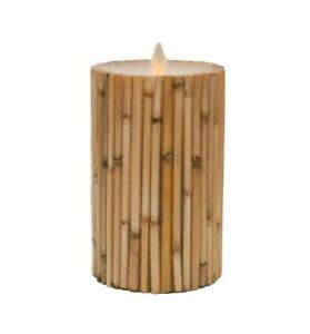 New Bamboo Inclusion Flameless Candle, Flickering ,Real Wax Pillars ,Timer