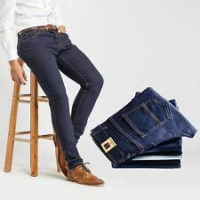 Robelli Designer Men's Stretch Fit Cotton Denim Skinny Jeans - Navy Blue (32W)
