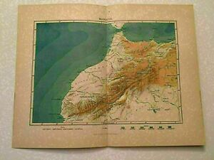 K119) Colored Two Page Map of Morcco Algeria 1887 Engraving