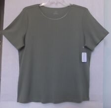 CJ Banks Size 3X Solid Sage Green knit top, short sleeves, satin trim,  NWT