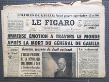 Lot 6 Journaux Journal Figaro FranceSoir Mort Du General Charles De Gaulle 1970