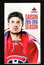 MONTREAL CANADIENS 2015-16 SCHEDULE WITH CAREY PRICE ON COVER