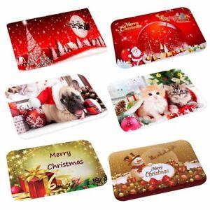 Merry Christmas Door Mat Floor Rug Xmas Home Decoration Non Slip Flannel Carpet
