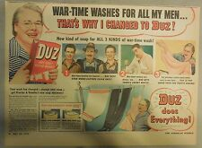 DUZ Detergent Ad: War-Time Washes For All My Men !: DUZ Ad from 1940's