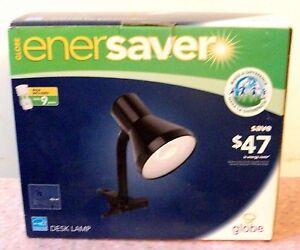 GLOBE ENERSAVER BLACK DESK LAMP with SPECIAL GU24 BULB, New In Box