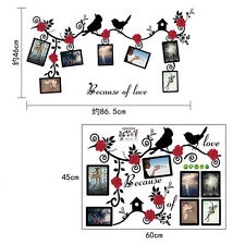 Family Tree Birds Photo Frame Quotes Wall Stickers Art Decals Home Decor DIY