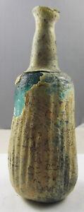 SASANIAN EMPIRE, CORRUGATED IRRIDESCENCE GLASS BOTTLE, Circa 4/5th century AD